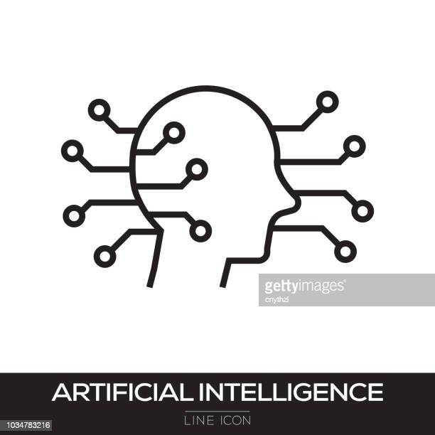 artificial intelligence line icon - machine learning stock illustrations