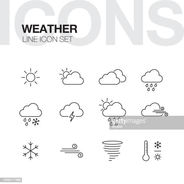 wettersymbole linie - wolke stock-grafiken, -clipart, -cartoons und -symbole