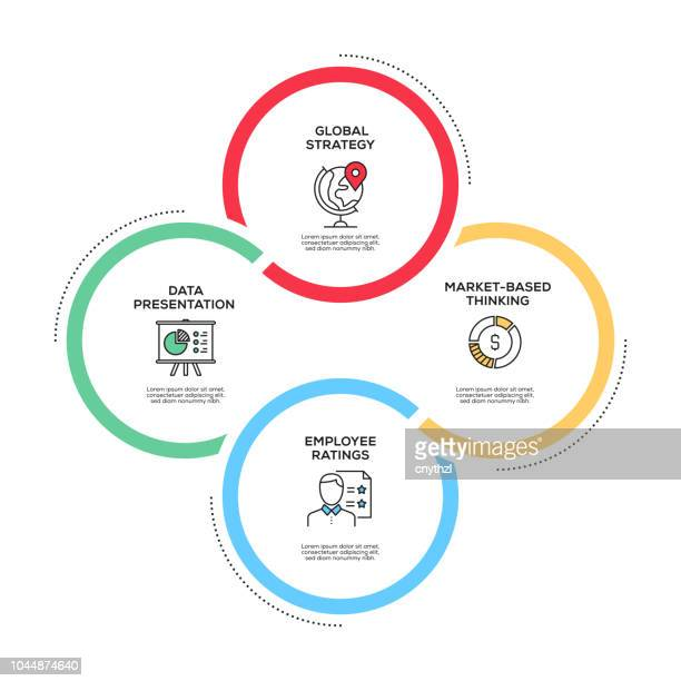 ilustrações de stock, clip art, desenhos animados e ícones de strategy concept infographic design - fluxograma