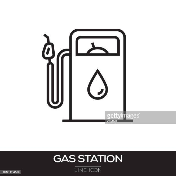 gas station line icon - fuel station stock illustrations, clip art, cartoons, & icons