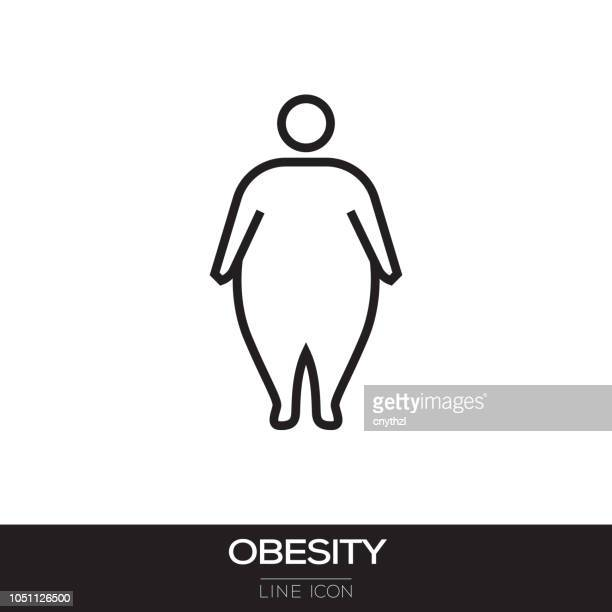 obesity line icon - slim stock illustrations, clip art, cartoons, & icons