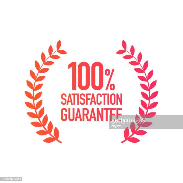 illustrazioni stock, clip art, cartoni animati e icone di tendenza di satisfaction guarantee badge - affidabilità