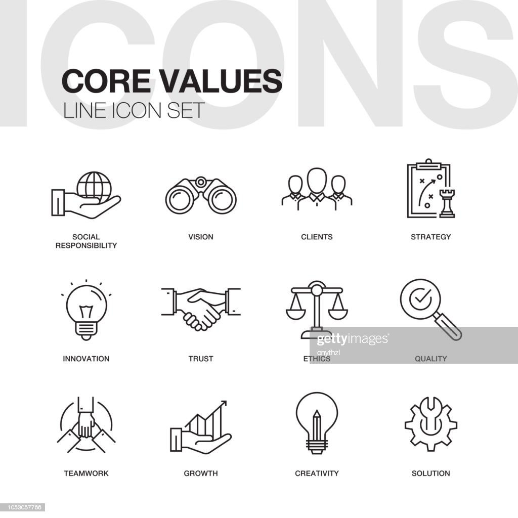 CORE VALUES LINE ICONS SET