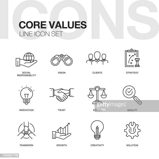 core values line icons set - employee stock illustrations