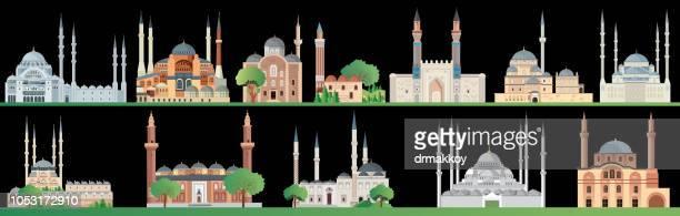 mosques - sivas stock illustrations
