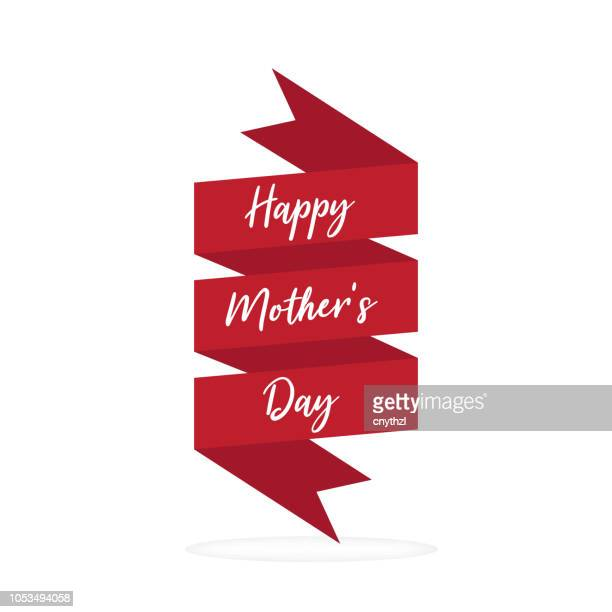 happy mother's day banner design - mothers day text art stock illustrations