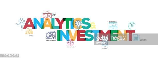 ilustrações, clipart, desenhos animados e ícones de análise e projeto de banner do conceito de investimento - panorâmica