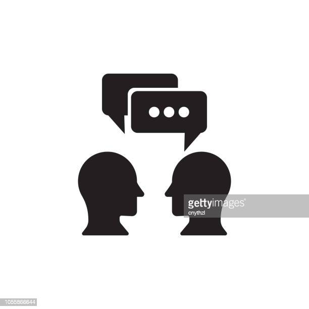 talking icon - two people stock illustrations