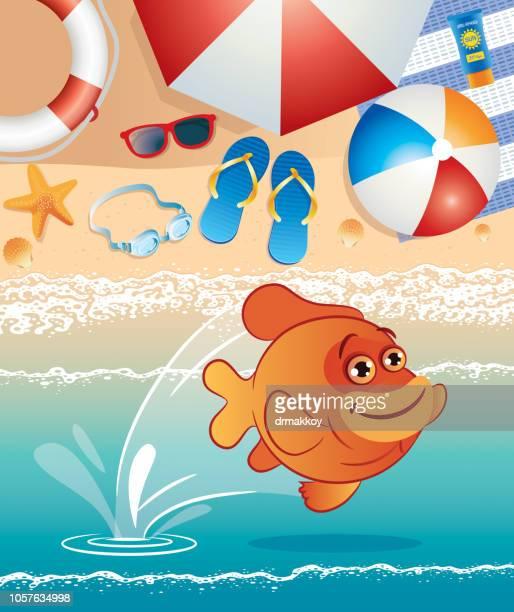 garibaldi fish - long beach california stock illustrations, clip art, cartoons, & icons