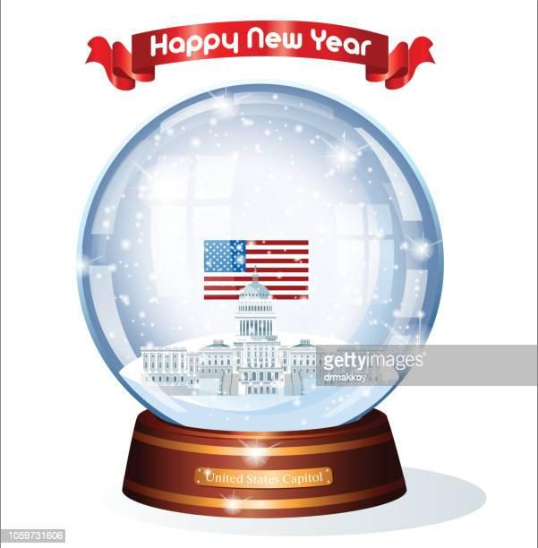 snow globe, usa state capitol - senate stock illustrations