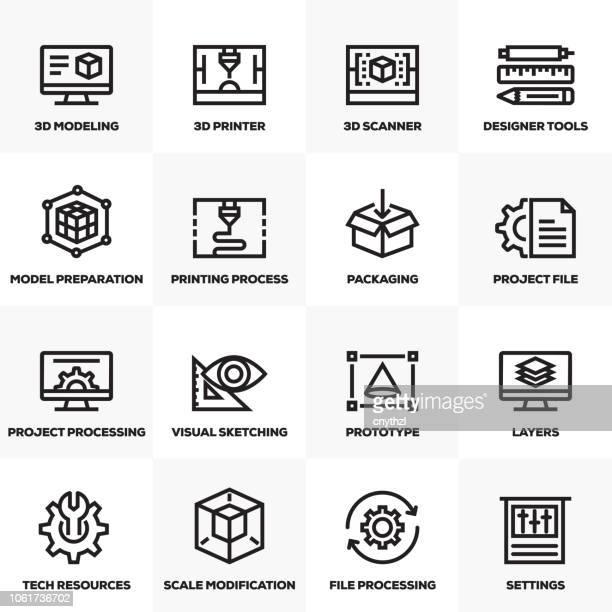 3d printing and modeling line icons set - model stock illustrations