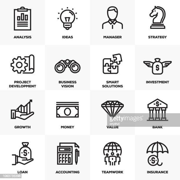 bildbanksillustrationer, clip art samt tecknat material och ikoner med företag och finans linje ikoner set - sponsra