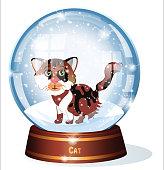 SNOW GLOBE, CALICO CAT