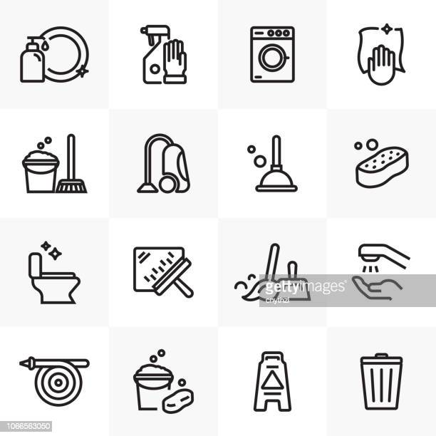 cleaning line icons set - clean stock illustrations