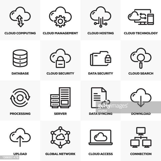 cloud-hosting linie icons set - computeranlage stock-grafiken, -clipart, -cartoons und -symbole