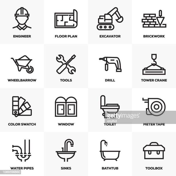 construction line icons set - contractor stock illustrations, clip art, cartoons, & icons