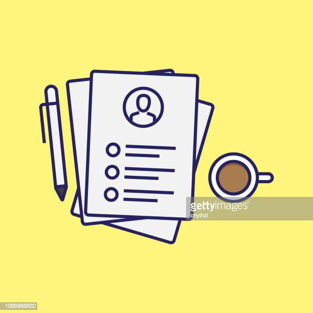 resume and human resources concept - resume stock illustrations