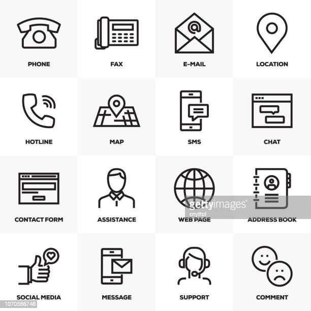 CONTACT US LINE ICONS SET