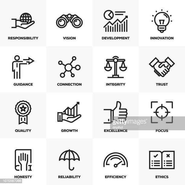 ilustrações, clipart, desenhos animados e ícones de conjunto de ícones do núcleo valores linha - transparente