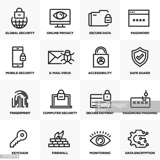 cyber security line icons set - antivirus software stock illustrations