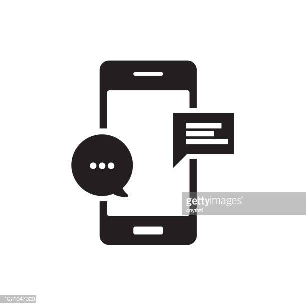 mobile chat icon - text stock illustrations
