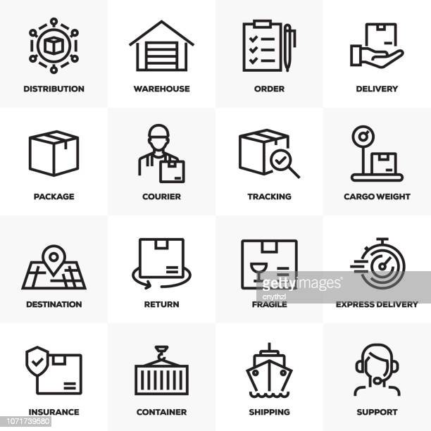 DELIVERY AND LOGISTIC LINE ICONS SET