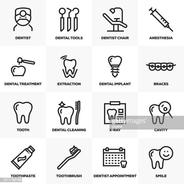 dental line icons set - dental equipment stock illustrations