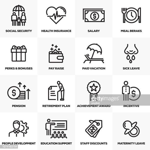 employee benefits line icons set - employee stock illustrations