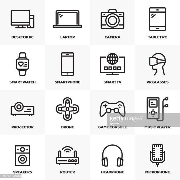 ilustrações, clipart, desenhos animados e ícones de conjunto de ícones de linha de eletrônicos e dispositivos - loja de produtos eletrônicos