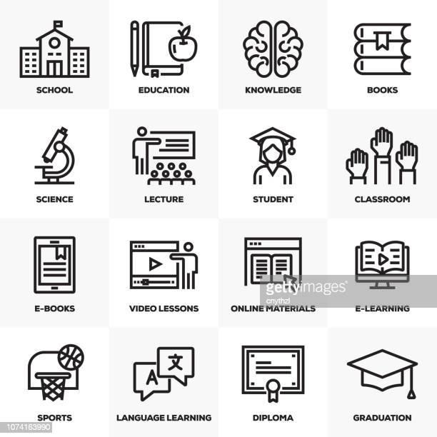 bildung linie icons set - dozenten stock-grafiken, -clipart, -cartoons und -symbole