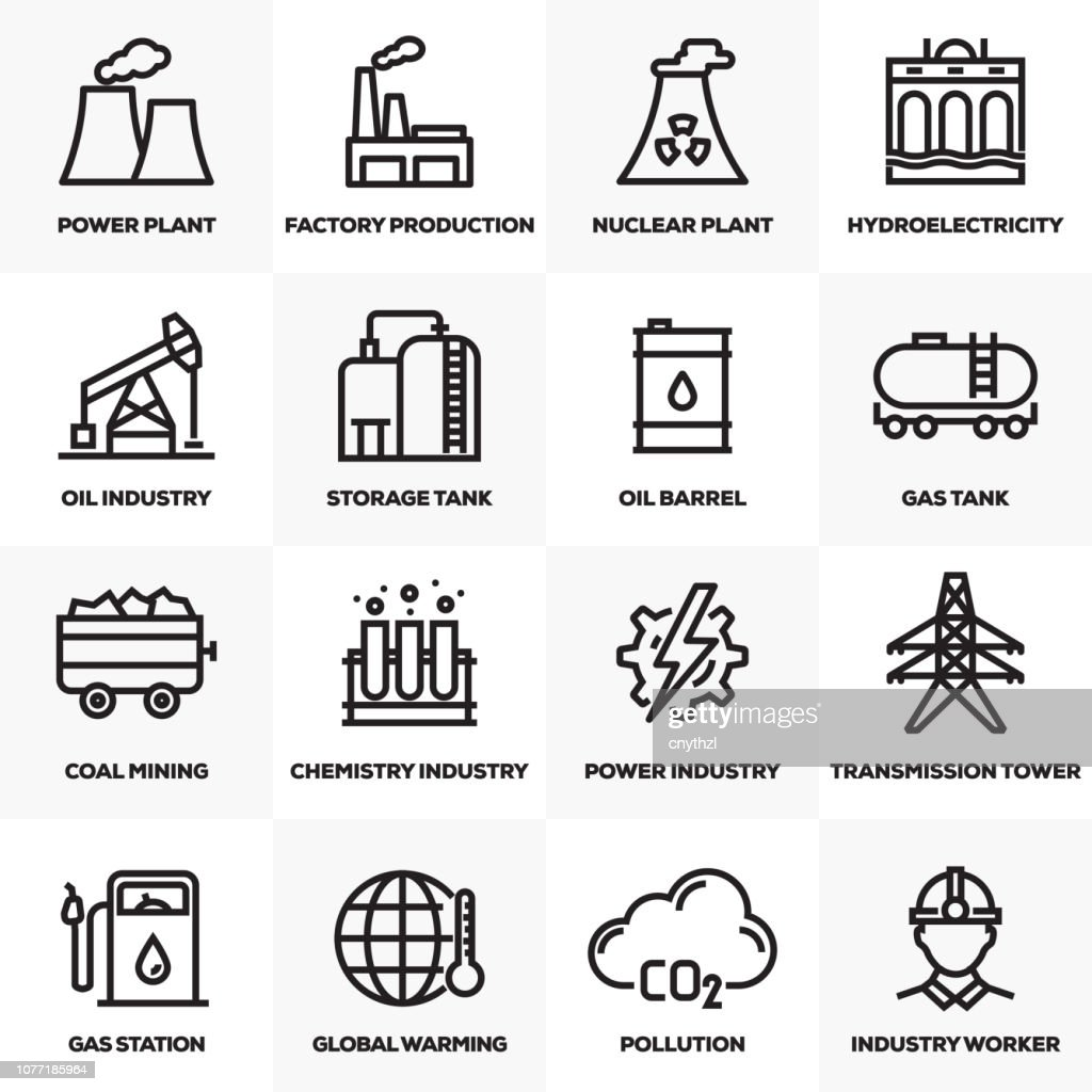 HEAVY AND POWER INDUSTRY LINE ICONS SET : stock illustration