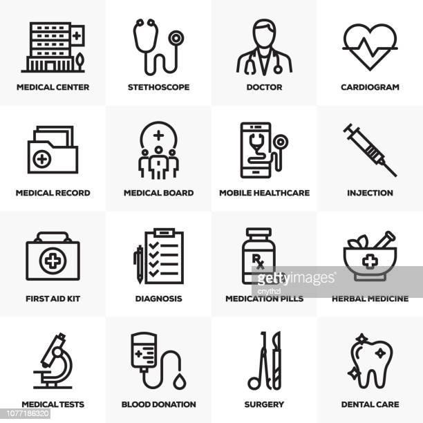 医療・医学の線のアイコンを設定 - 医療診断機器点のイラスト素材/クリップアート素材/マンガ素材/アイコン素材