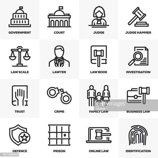 law and justice line icons set - legal defense stock illustrations