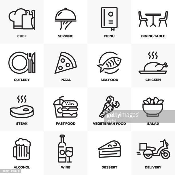 ilustrações de stock, clip art, desenhos animados e ícones de restaurant and food line icons set - lunch