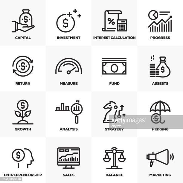 return sie on investment linie icons set - return stock-grafiken, -clipart, -cartoons und -symbole