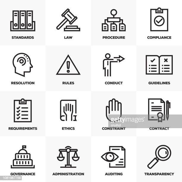 regulations line icons - rules stock illustrations, clip art, cartoons, & icons