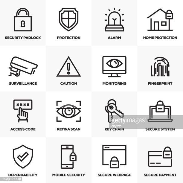 security line icons set - security code stock illustrations