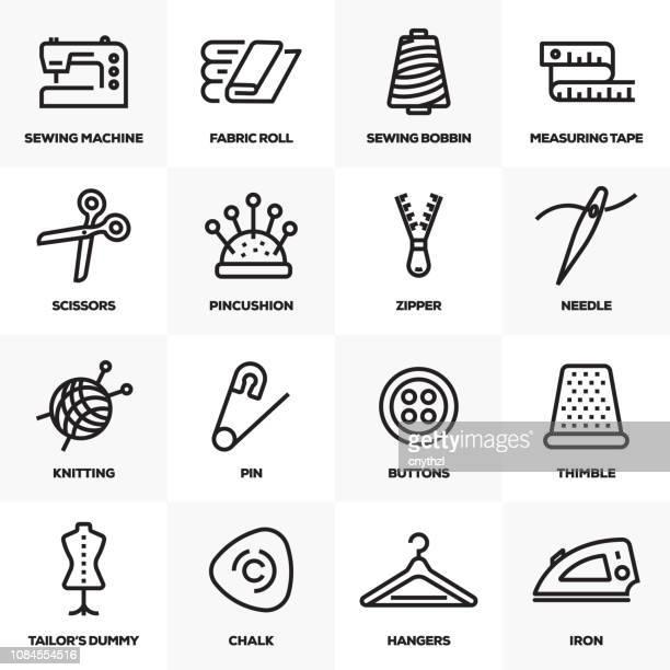 ilustrações, clipart, desenhos animados e ícones de conjunto de costura linha de ícones - rolo