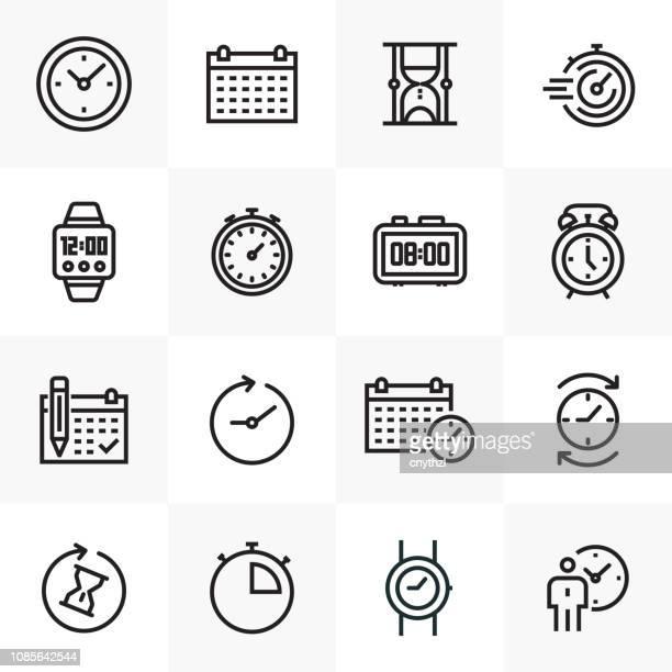ilustrações, clipart, desenhos animados e ícones de conjunto de ícones de tempo linha relacionados - ponteiro grande