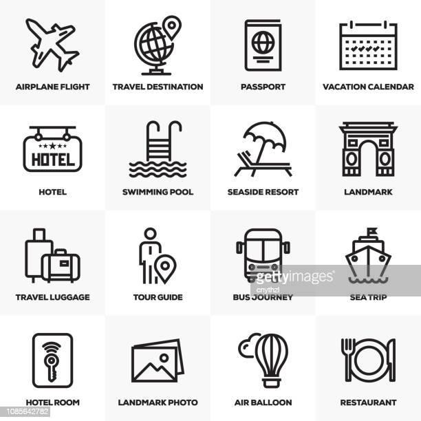 stockillustraties, clipart, cartoons en iconen met toerisme en reizen lijn icons set - verblijfsoord