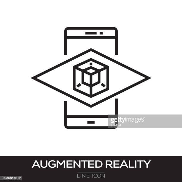 augmented-reality-line-symbol - erweiterte realität stock-grafiken, -clipart, -cartoons und -symbole