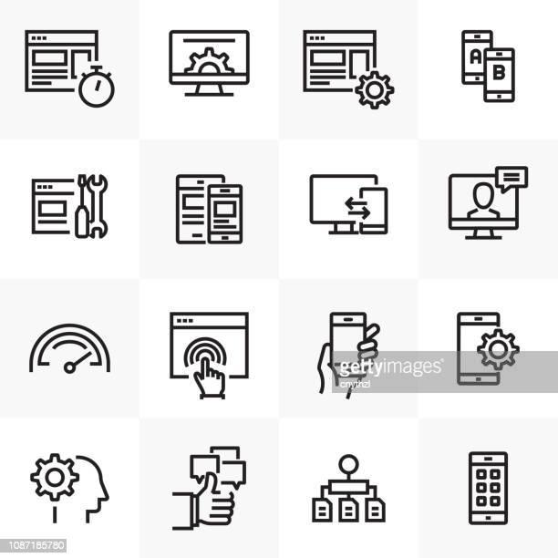 ux 関連ラインのアイコンを設定 - ワイヤーフレーム作成点のイラスト素材/クリップアート素材/マンガ素材/アイコン素材