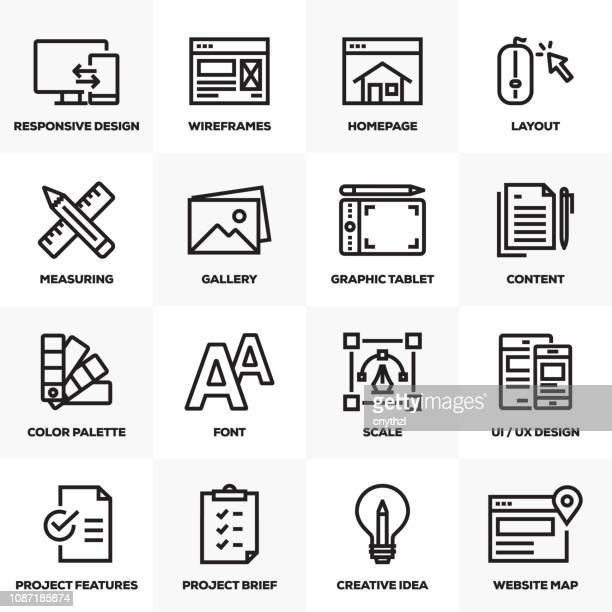 web デザイン ライン アイコンを設定 - ワイヤーフレーム作成点のイラスト素材/クリップアート素材/マンガ素材/アイコン素材