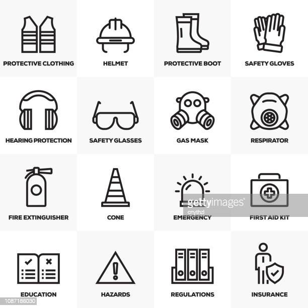 work safety line icons set - waistcoat stock illustrations, clip art, cartoons, & icons