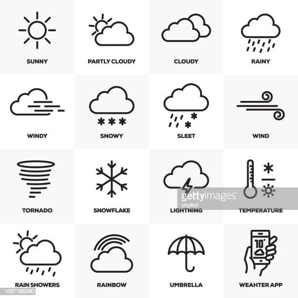 weather related line icons set - fahrenheit stock illustrations