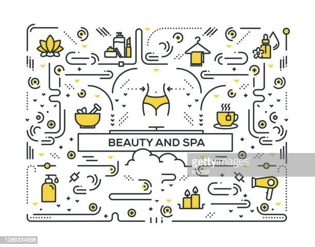 BEAUTY AND SPA LINE ICONS PATTERN DESIGN