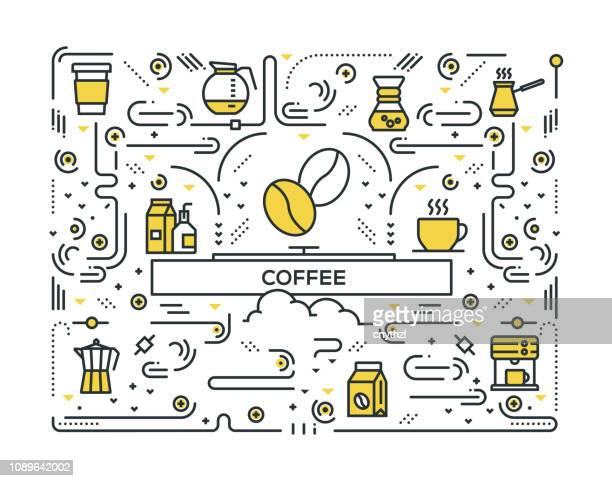 coffee line icons pattern design - coffee stock illustrations