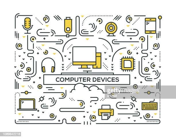 ilustrações, clipart, desenhos animados e ícones de projeto do teste padrão de ícones do computador dispositivos linha - loja de produtos eletrônicos