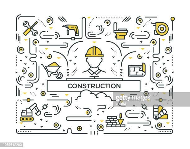 CONSTRUCTION LINE ICONS PATTERN DESIGN