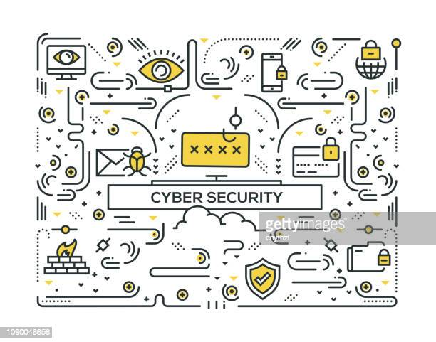cyber security related line icons pattern design - computer virus stock illustrations